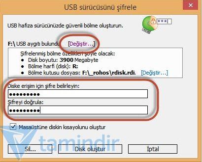 usb bellek şifreleme 2